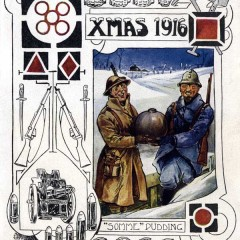 York Castle Museum WW1 Christmas Card, reading 'XMAS 1916'. The card is decorated with images of weaponry such as guns, knives, grenades, machine guns and bullets. There is an image of two soldiers, one dressed in tan and one dressed in blue, smiling while holding a bomb, it is captioned with '