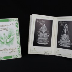 Front cover and inside pages of an illustrated book advertising wedding cakes