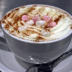 A hot chocolate with cream and marshmallows from Cafe 68 at York Castle Museum