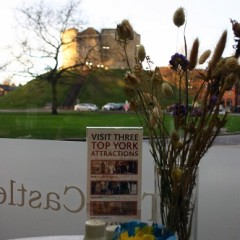 Enjoy a beautiful view of Clifford's Tower in our cafe at York Castle Museum