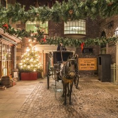 Kirkgate, the Victorian street at York Castle Museum, decorated for Christmas. Picture by Skywall.