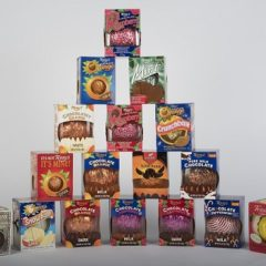 Boxes of Terry's Chocolate Oranges stacked in a pattern
