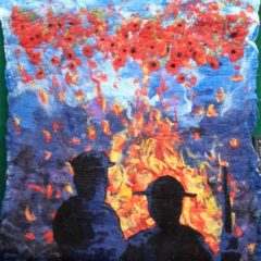 Textured felt artwork featuring poppies and soldier silhouettes