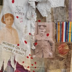 Artwork using different fabrics with photos of a soldier and woman