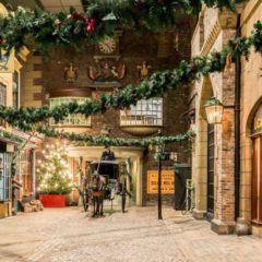 Kirkgate, the Victorian street at York Castle Museum, decorated for Christmas.