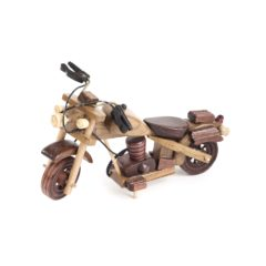 A wooden toy motorcycle.