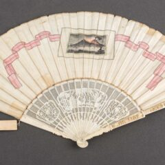 Back of Italian fan, this side only shows one image, in the same watercolour style, showing Mt Vesuvius mid-eruption. This image is surrounded by a pink and white ribbon.
