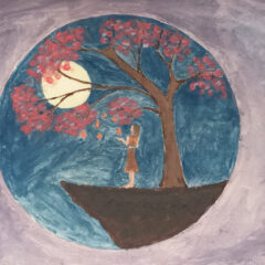 Purple background surrounds a circle in which a girl touches leaves on a tree with a moon in the background.
