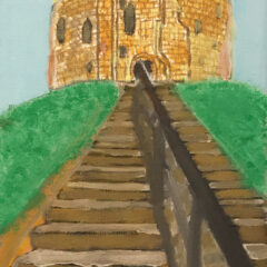 Painting of Cliffords Tower York. The brick remains of a castle are at the top of a steep row of steps on a green grass hill.